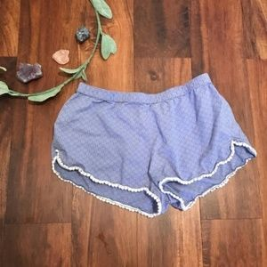 aerie | Blue Sleep Shorts with Pom Pom Trim